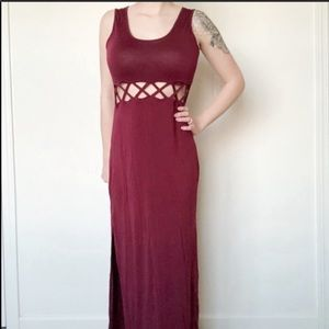 Forever 21 Burgundy Cut Out Maxi Dress Size Large